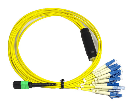 APC/APC - Singlemode (9/125) - 12 Strand - Fiber Optic Cable - MPO to 12xLC