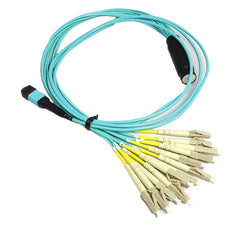 OM4 - 40Gb Multimode (50/125) - 12 Strand - Fiber Optic Cable - MPO to 12xLC - Plenum