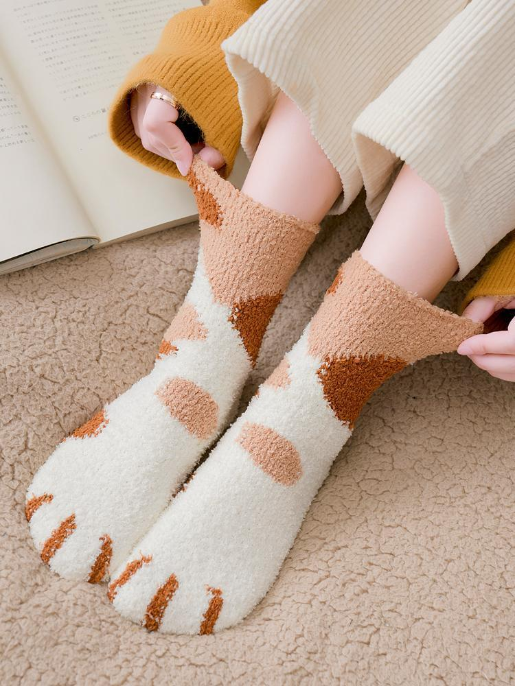 【3 Pairs】Cute Cat Claws Thick Warm Socks🐾