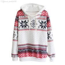 White Ladies Snowflake Christmas Printed Thick Pullover Hoodie