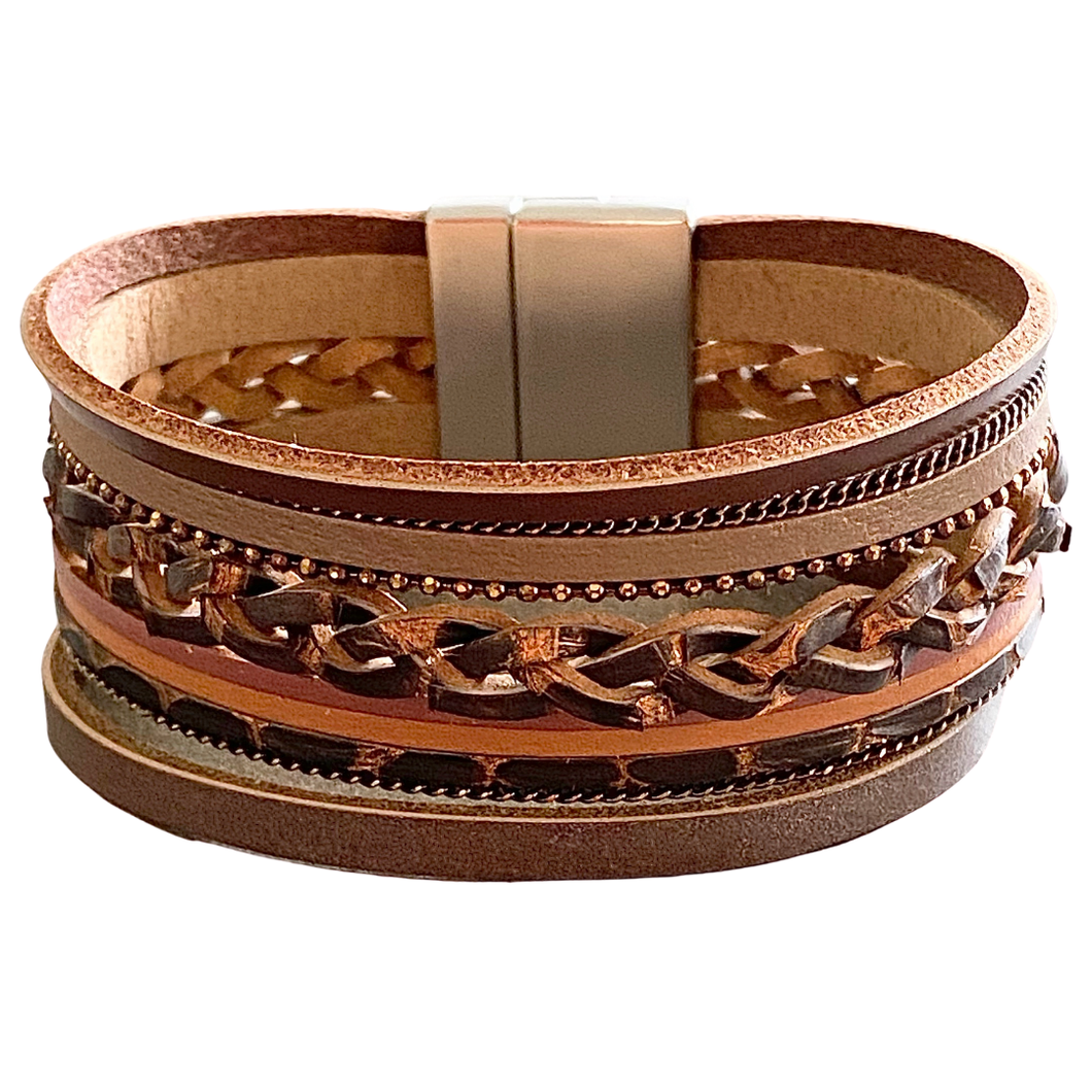 Evette - Brown woven leather bracelet