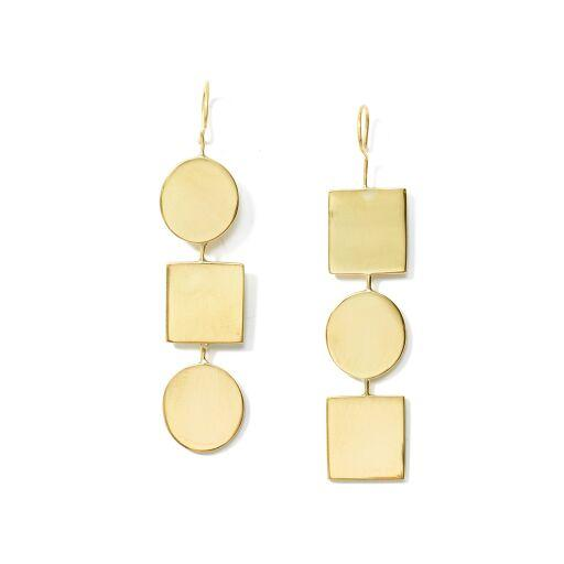 Anika Geo Drop Earrings // Brass - Raven + Lily