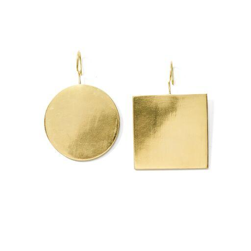 Anika Geo Statement Earrings // Brass - Raven + Lily