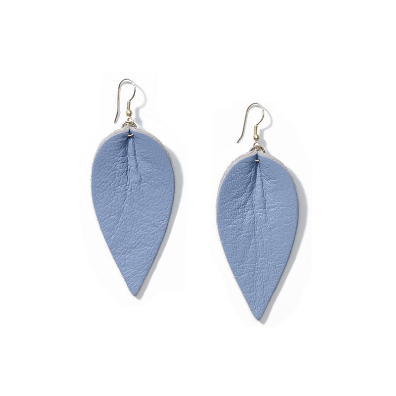 Zia Leather Leaf Earrings // Wisteria - Raven + Lily