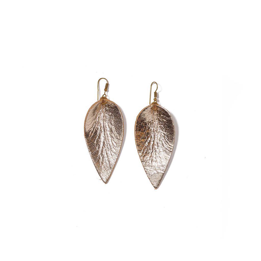 Zia Leather Leaf Earrings // Champagne