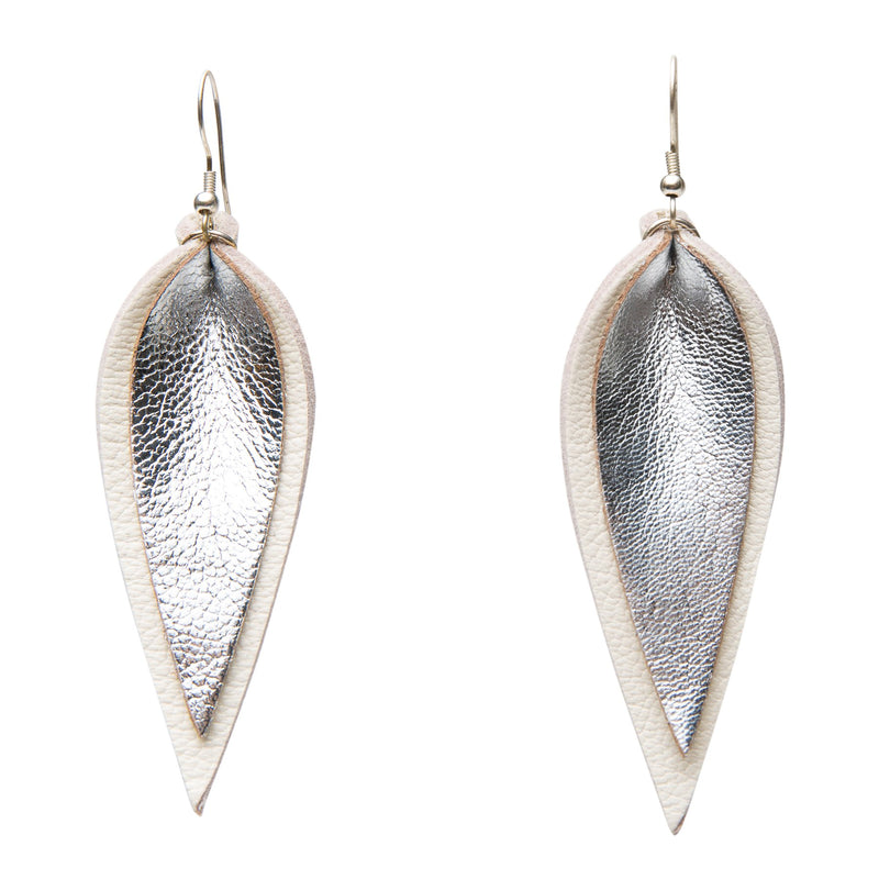Zia Double Leather Leaf Earrings // Silver on White - Raven + Lily