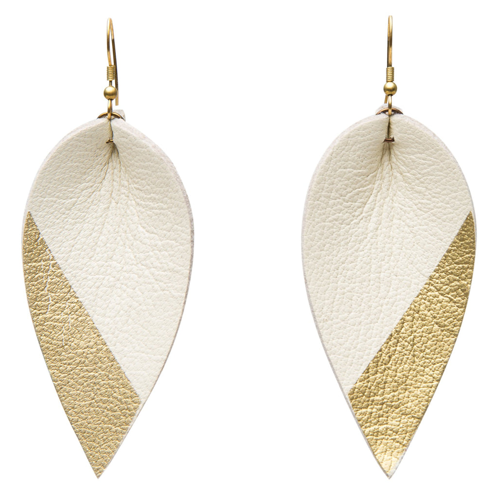 Zia Dipped Leather Leaf Earrings // White + Gold - Raven + Lily