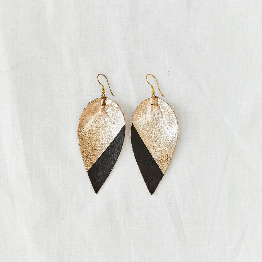 Zia Dipped Leather Leaf Earrings // Black + Gold - Raven + Lily