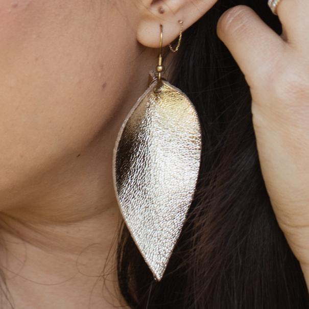 Zia Leather Leaf Earrings // Gold - Raven + Lily