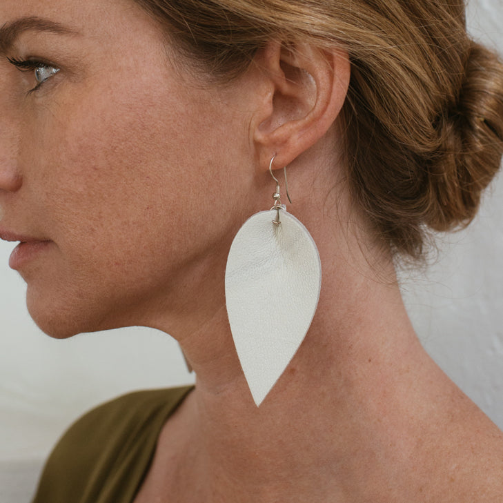 Zia Leather Leaf Earrings // Eggshell - Raven + Lily