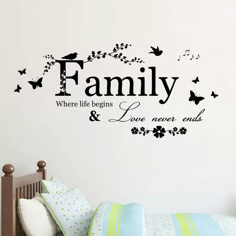 Family Love Never Ends Wall Art Sticker