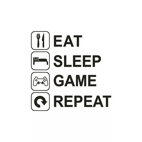 Eat Sleep Game Repeat Removable Art Wall Sticker