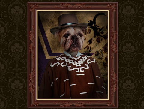 Unique Pet Portrait in Cowboy Costume