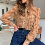 Vintage neck tie polka dot blouse