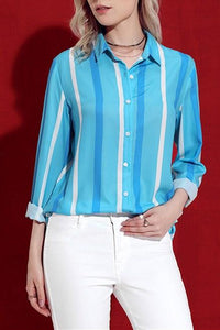 Blue Tricolor Stripe Long Sleeve Button Down Shirt