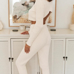 Winter Casual Stripe Knitted Set