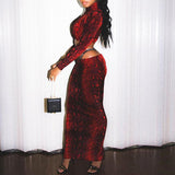 Red animal print two piece turtleneck matching set