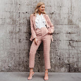 Plaid long sleeve double breasted blazer + pants set
