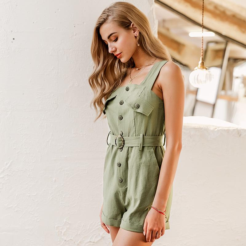 Linen sash belt high waist rompers