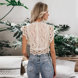 Elegant lace mesh embroidery tank top