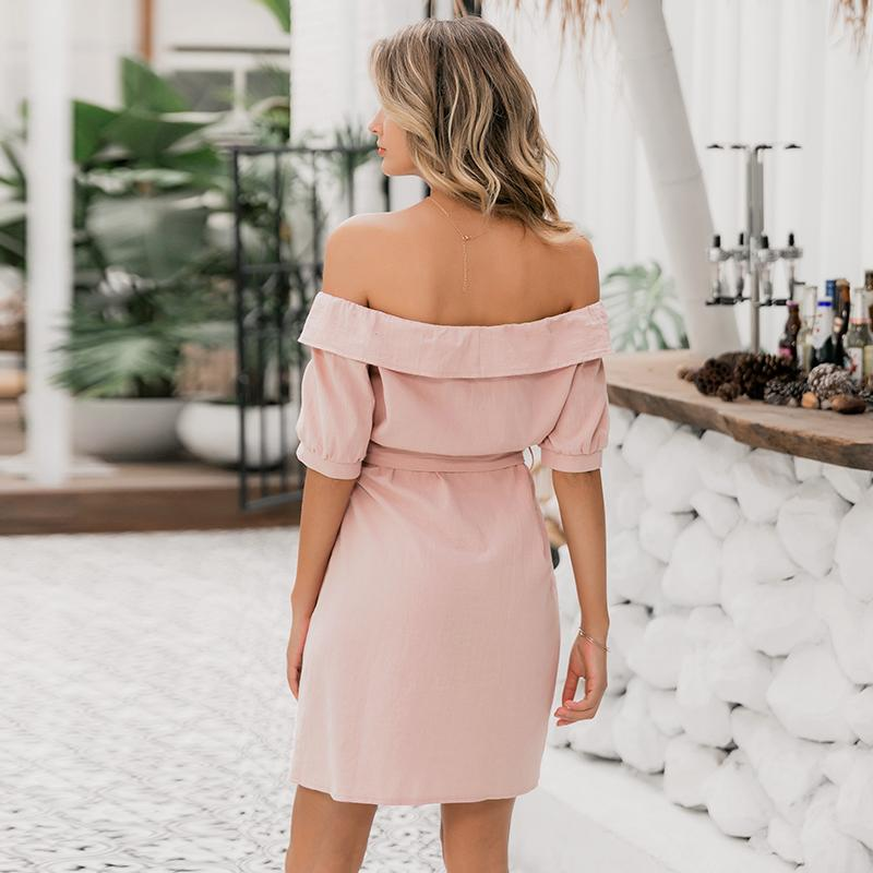 Pink off shoulder single breasted mini dress