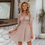 Vintage chiffon square collar dress