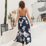 Backless boho print split maxi dress