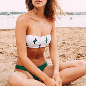 High cut two piece bathing suit