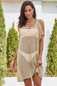 Apricot Cold Shoulder Fishnet Beach Cover up