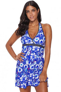 Blue Floral High Waist Tankini with Panty