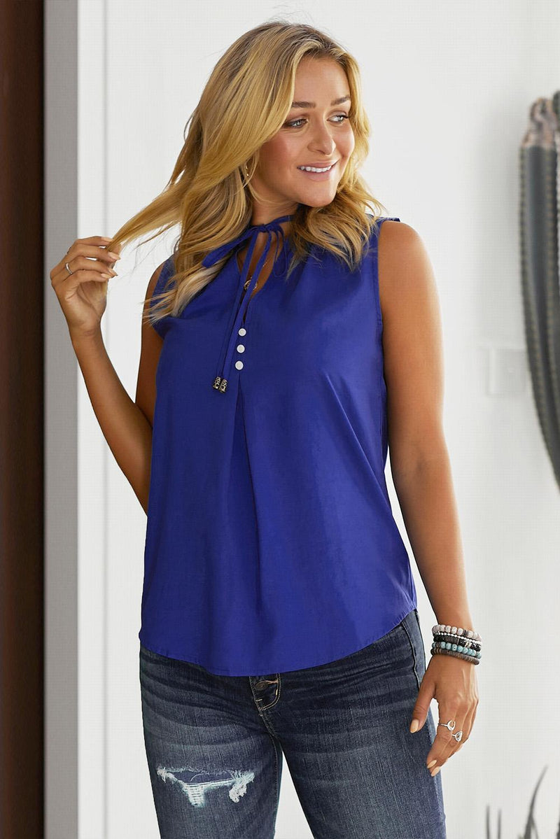Brief Blue Larger Than Life Neck Tie Tank Top