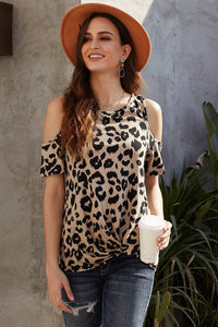 Brown Leopard Print Cold Shoulder Casual Top