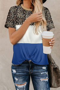 Casual Blue Color Block Leopard Short Sleeve Tee