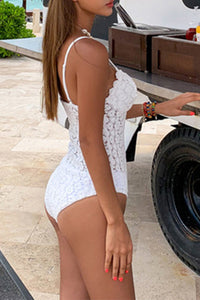 Chic White Lace Crochet Push Up Swimsuit