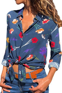 Dark Blue Floral Print Button Front Shirt