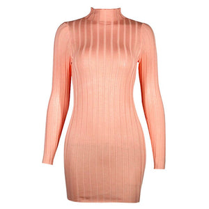 Pink High Collar Slim Waist Dress