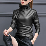 Faux Leather Turtleneck Top