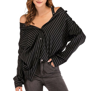 Black Strap Vertical Stripe Off-shoulder Shirt