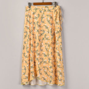 High Waist Flowers Print Midi Skirt