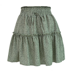 Dot Print High Waist Lace-Up Skirt