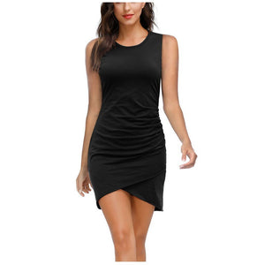 Casual Sleeveless Pleated Cross Tank Dress