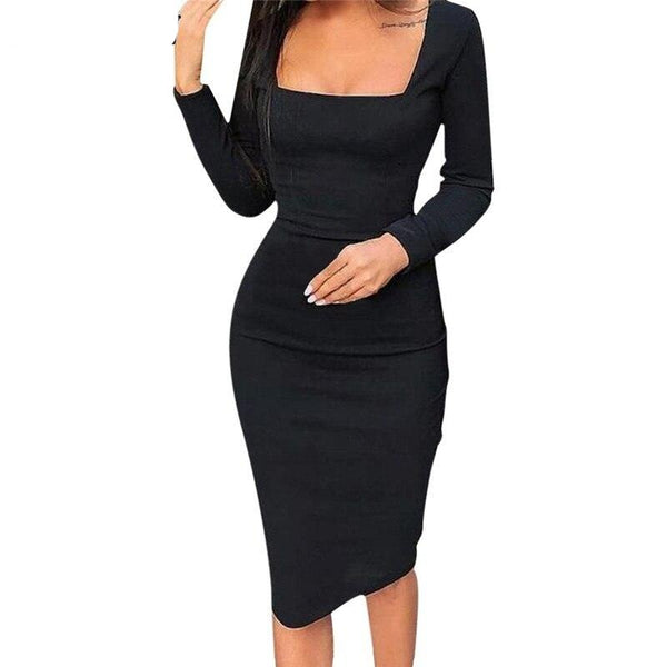 Bodycon Square Collar Sheath Dress