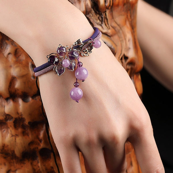 Purple Stone Flower Charm Bracelet