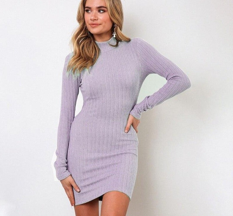 Purple Open Back Mini Dress