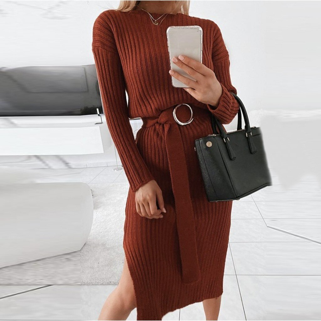 Knitted High Waist Split Sweater Dress