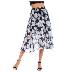 Blue Flower Printed Chiffon Skirt