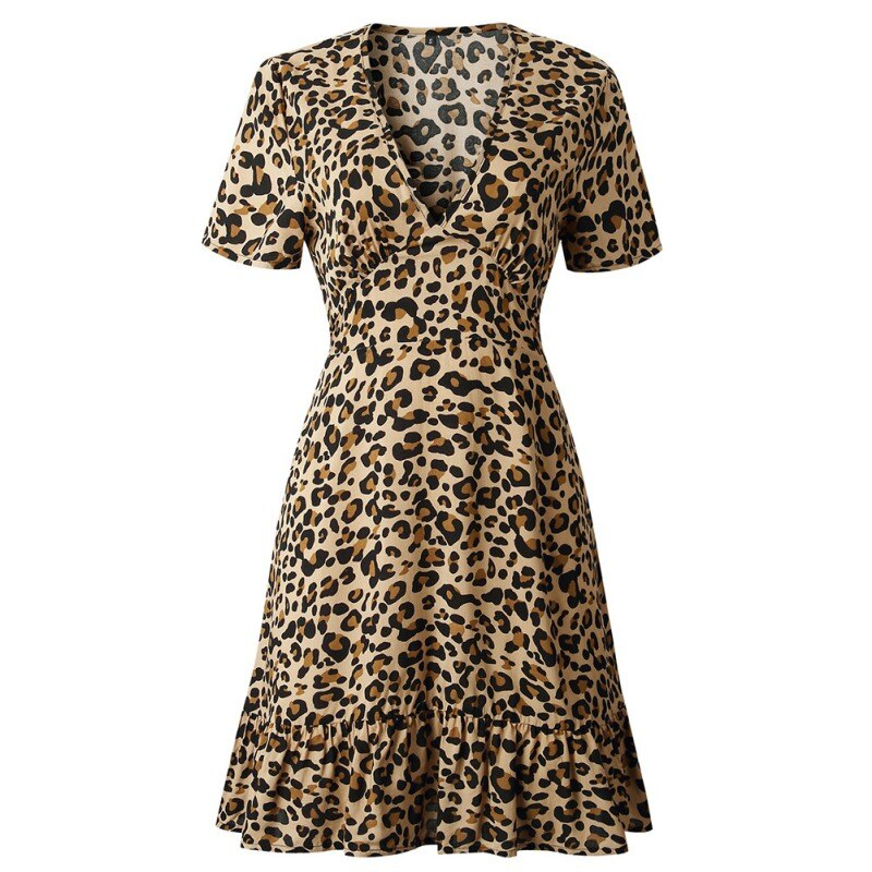 Necessary Leopard Print Short Sleeve Party Dress