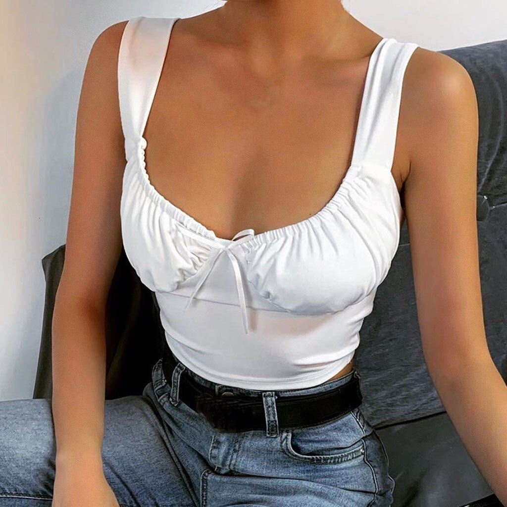 Low-cut Sleeveless Solid Fold Top