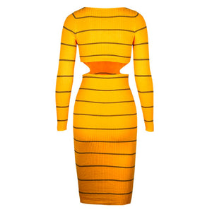 Yellow Striped Bandage Dress