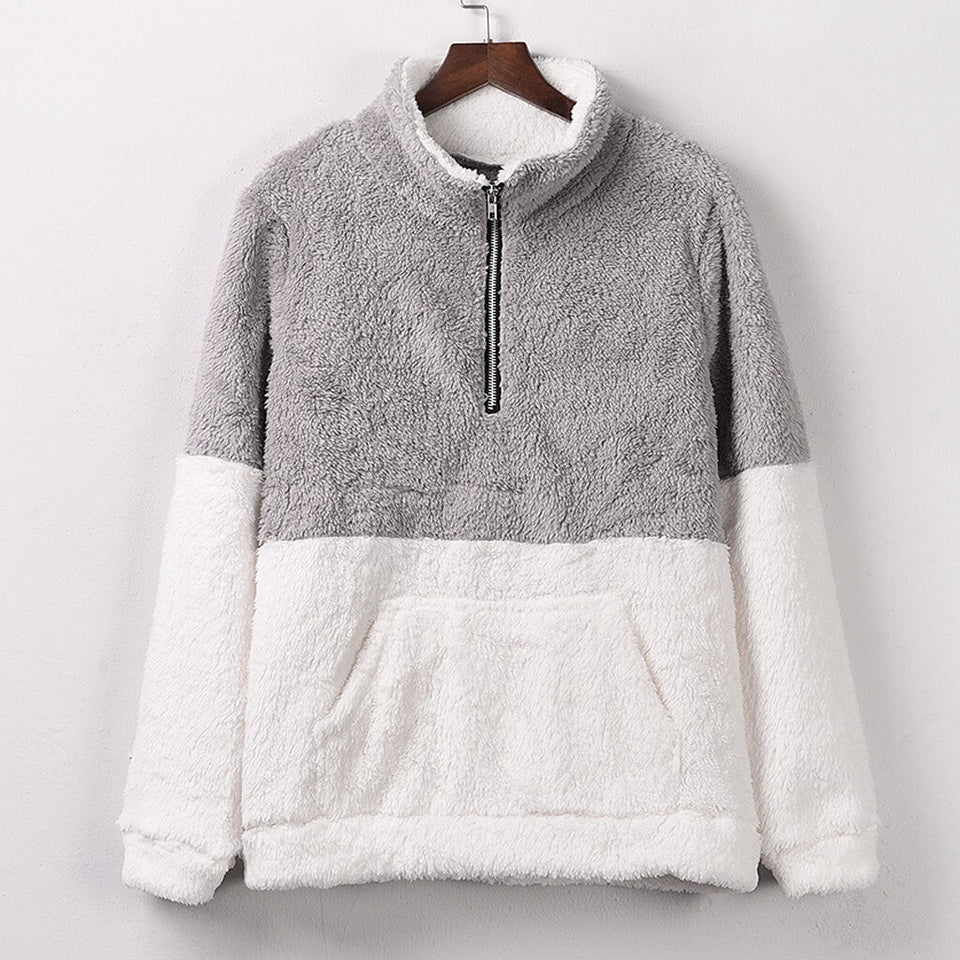Plush Fleece Stand Neck Sweatshirt